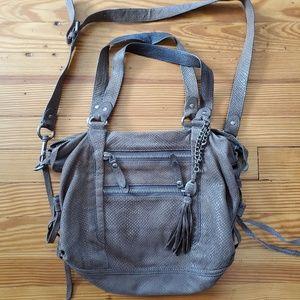 Olivia Harris Grey Leather Satchel Bag Purse